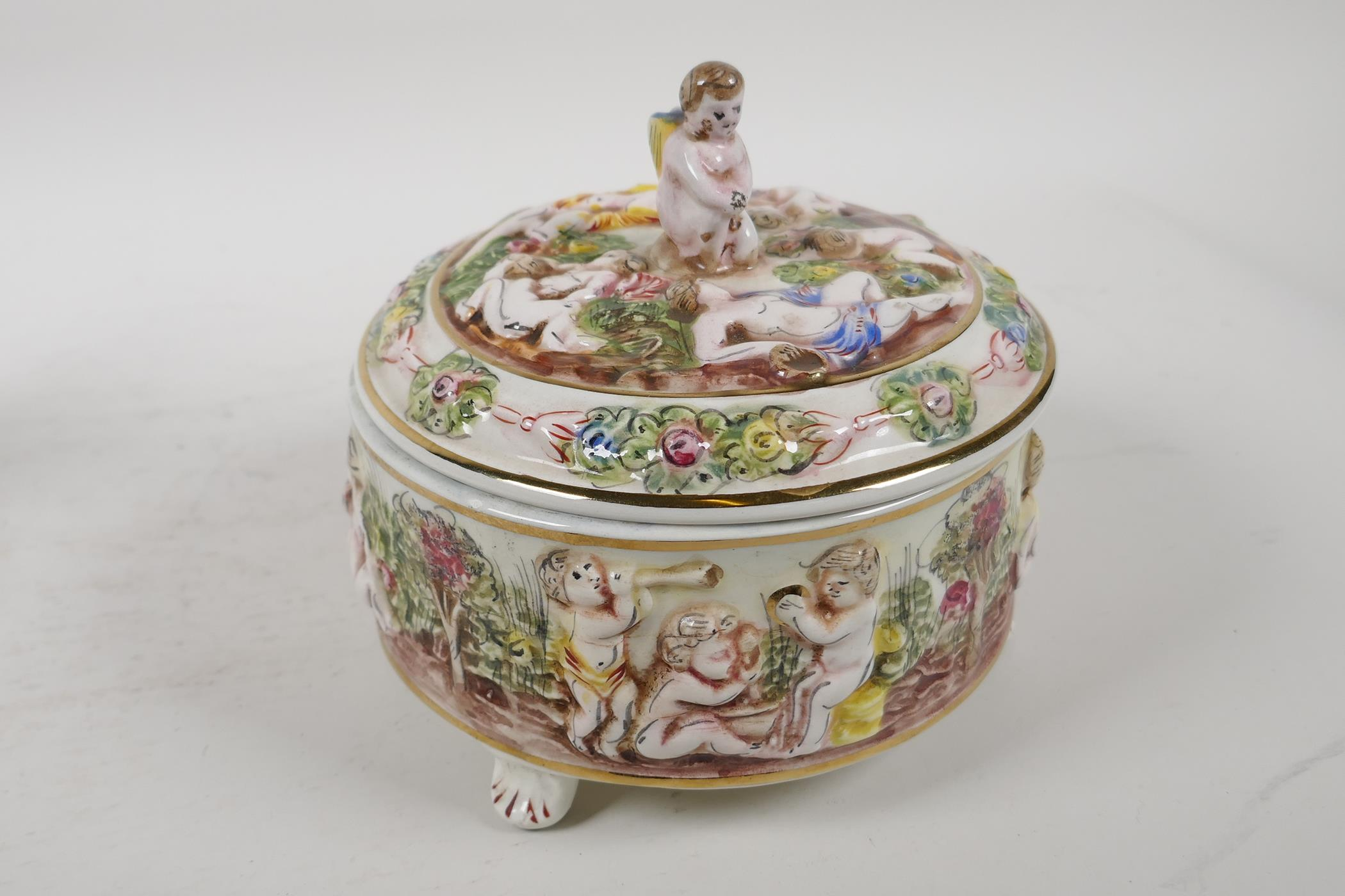 """A C19th continental porcelain inkwell modelled as two children on a seesaw, 6"""" high, and a - Image 3 of 6"""