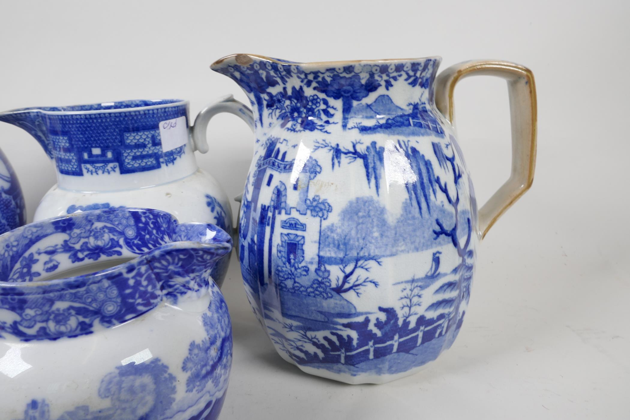 """Six blue and white transfer printed jugs and three gravy boats, various patterns, largest 6"""" high - Image 8 of 8"""