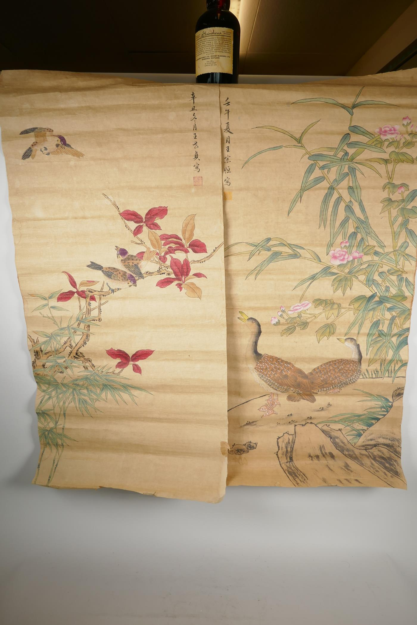 A Chinese watercolour scroll depicting waterfowl and flowers, and another similar with birds and - Image 3 of 3