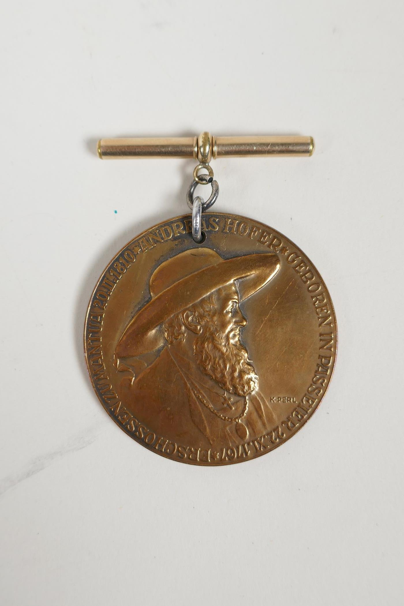 A bronze medallion commemorating Andreas Hofer together with masonic medals and an RAF cap badge, - Image 2 of 8