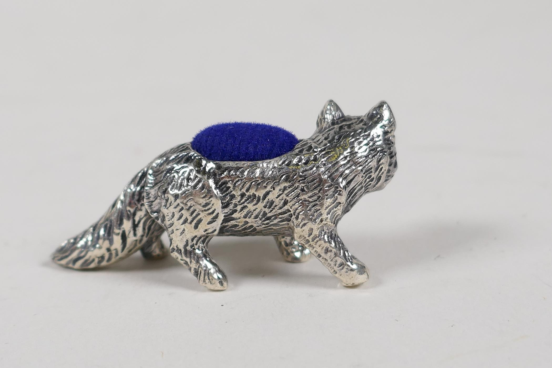 """A sterling silver pincushion in the form of a fox set with ruby eyes, 1½"""" long - Image 2 of 3"""