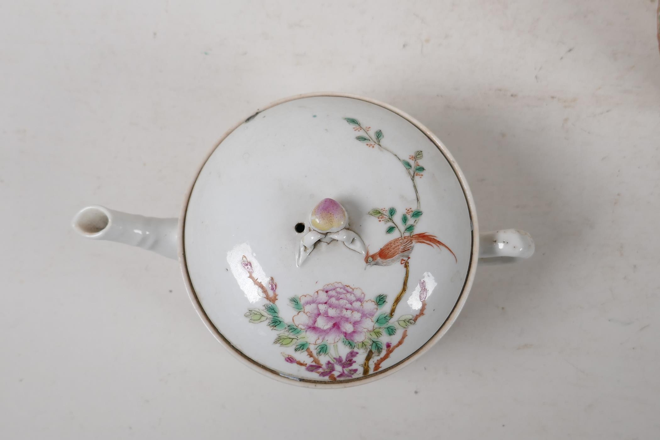 A Cantonese famille rose teapot decorated with figures, birds and flowers, A/F, and a republic - Image 3 of 7