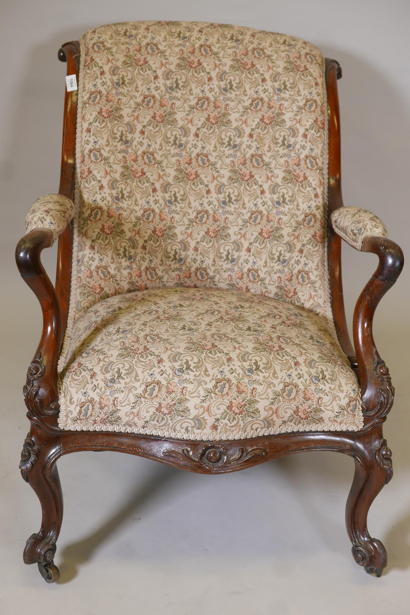 A Victorian rosewood show frame open arm easy chair, with scrolled back and shaped arms, raised on - Image 4 of 7