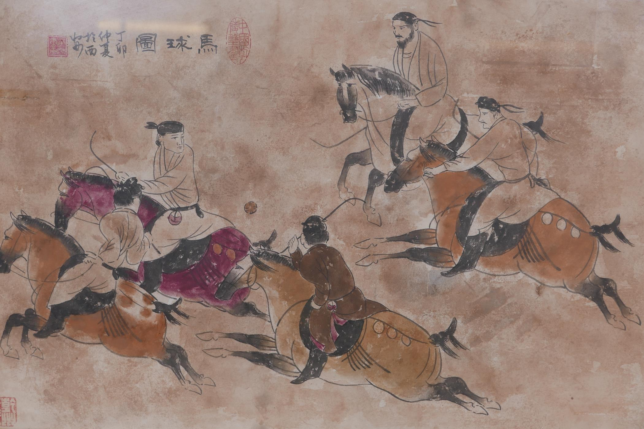 """Chinese watercolour depicting polo players, with inscriptions and seal marks, 26"""" x 17"""""""