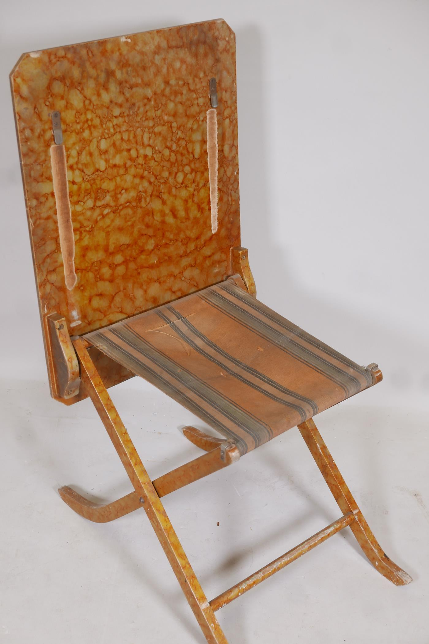 A metamorphic table/chair, early C20th, in original painted finish - Image 3 of 4