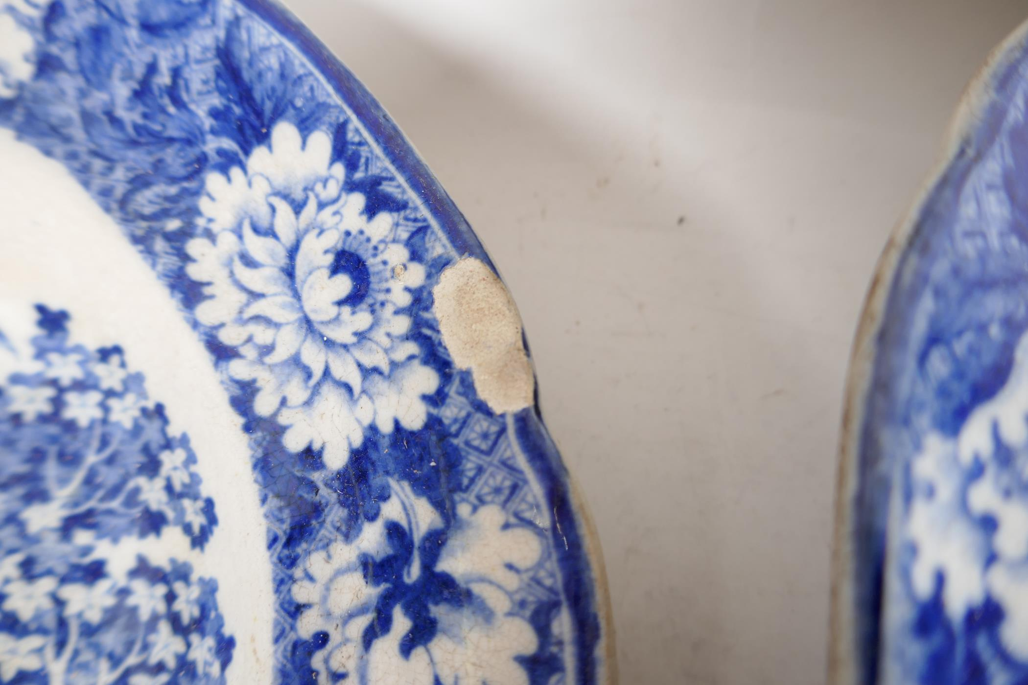 """C19th blue and white pottery 'Man on Donkey' pattern meat dish, 14"""" x 11"""", oval serving bowl and two - Image 3 of 5"""