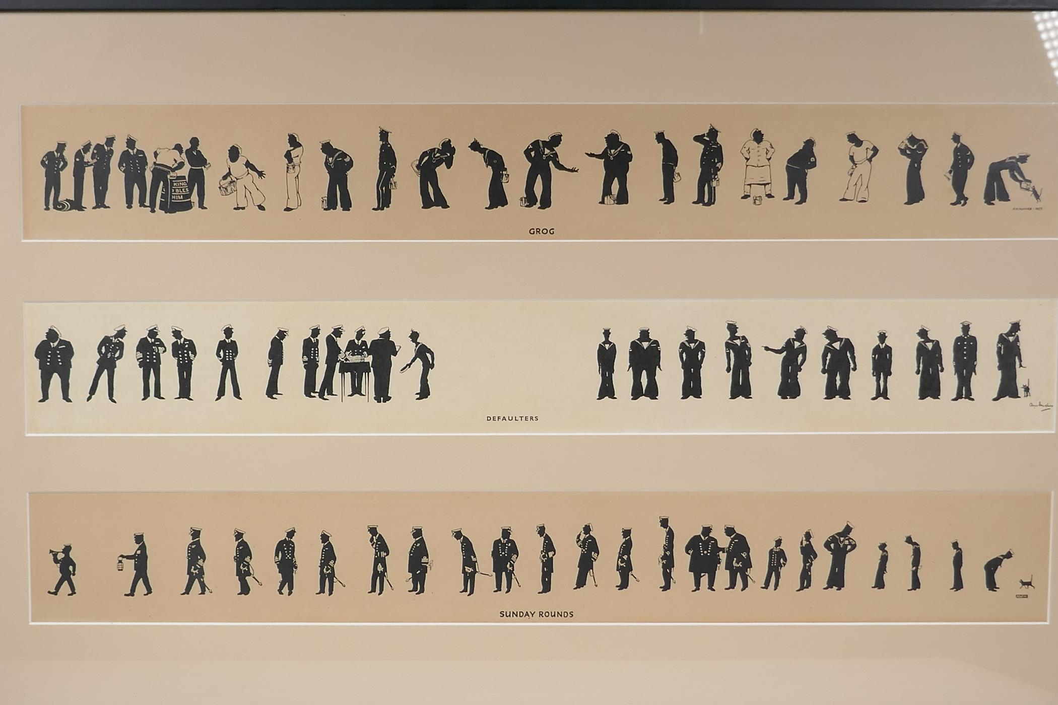 A.M. Hughes, three silhouette prints of naval life, Grog, Defaulters and Sunday Rounds, mounted in a