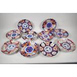 "Ten C19th Imari plates painted in various patterns, 8"" diameter"