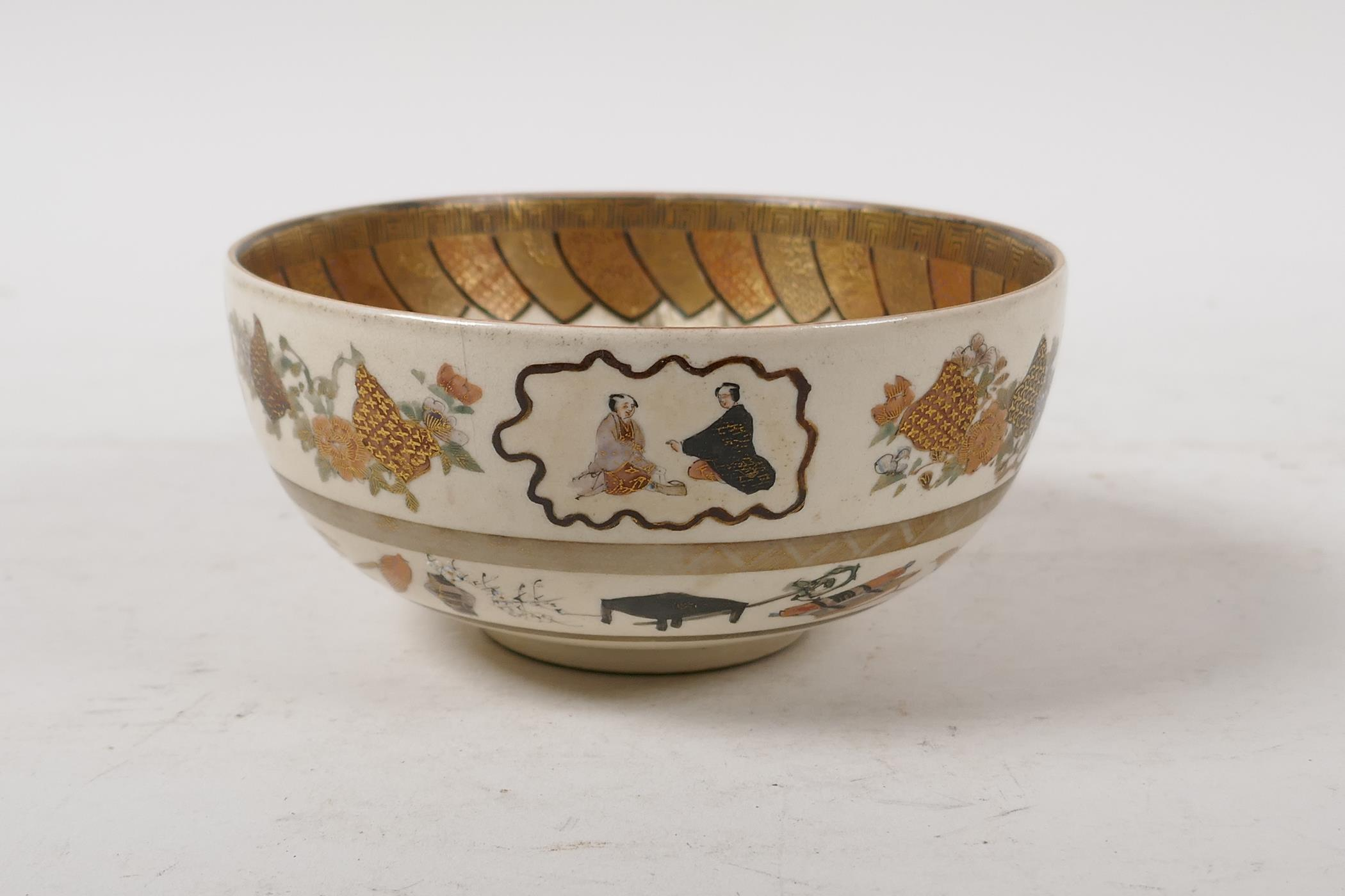 A Japanese meiji period satsuma bowl, decorated with children to the interior, the exterior with - Image 2 of 8