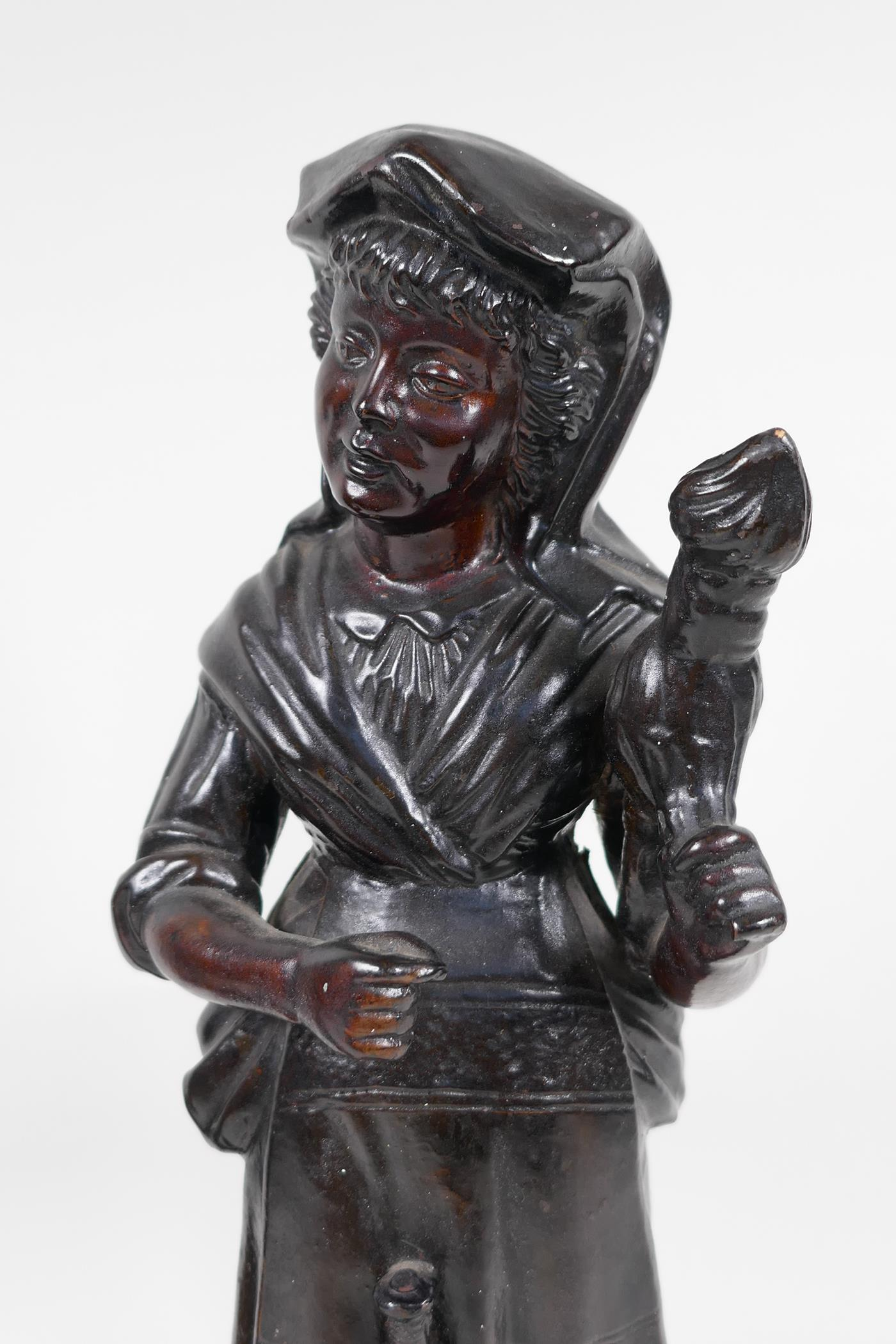 """A pair of French C19th brown glazed earthenware figures, marked HB (Quimper) G75, 13"""" high - Image 3 of 4"""