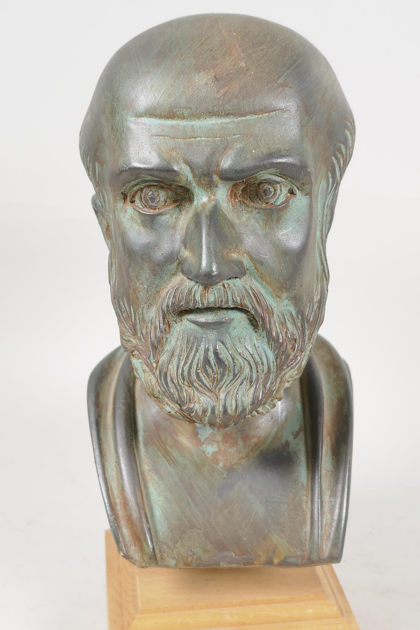 """A plaster bust after the antique, 7"""" high - Image 3 of 3"""