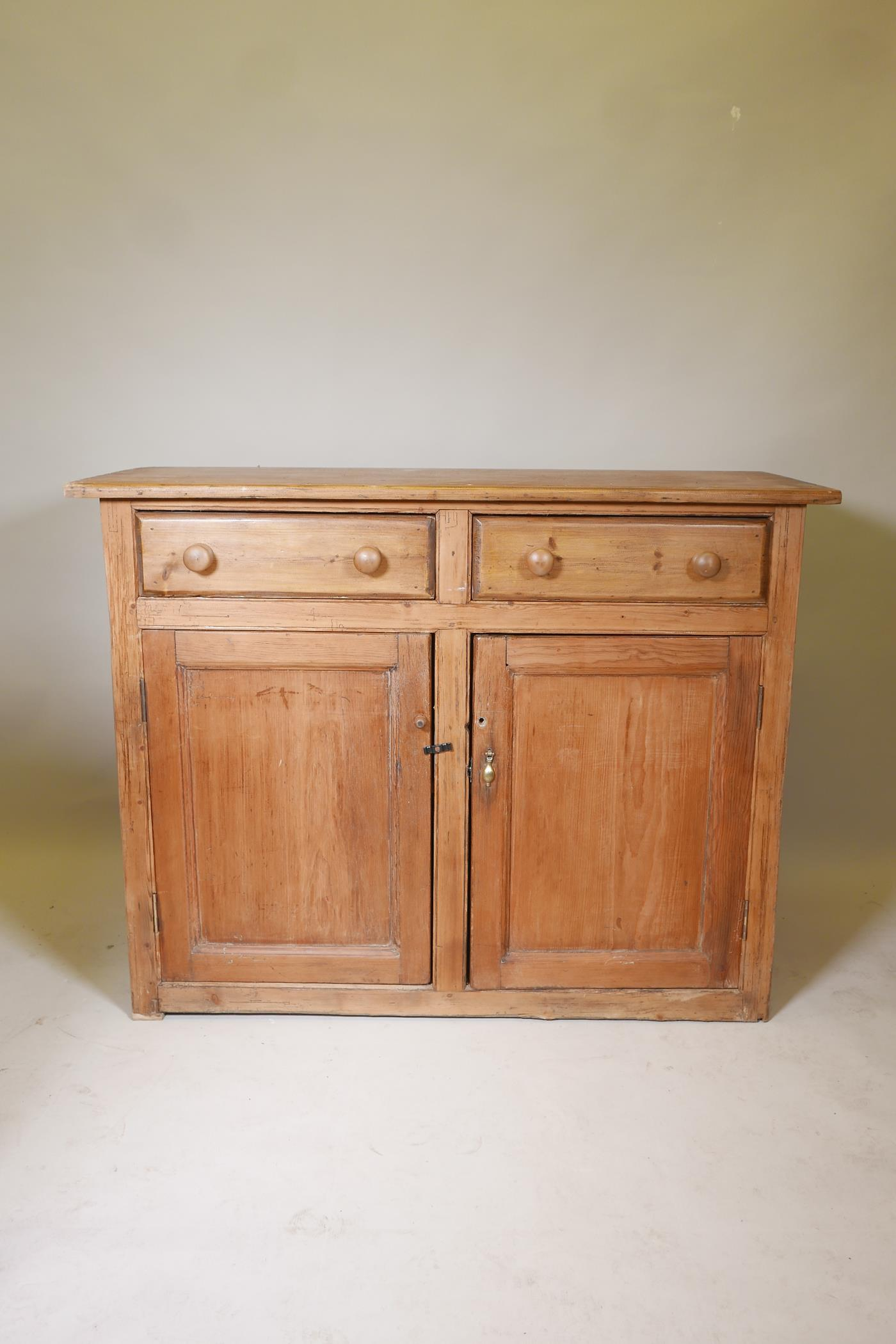 """A C19th pine buffet of two drawers over two cupboards, 52"""" x 21"""", 39"""" high - Image 2 of 3"""