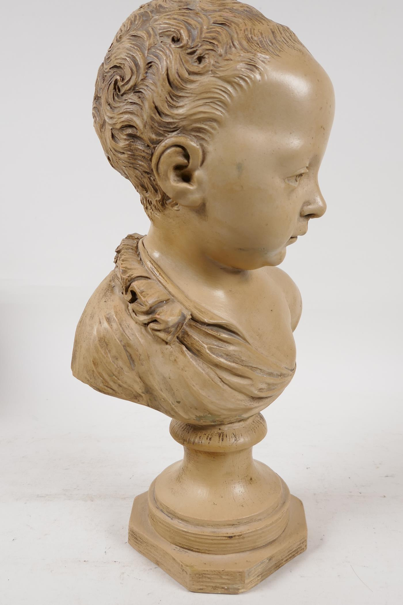 """A terracotta bust of a chld, after J.A. Houdon, 13"""" high - Image 2 of 6"""