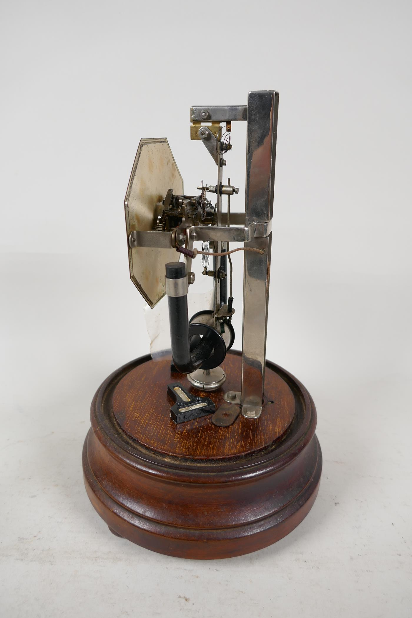 """A Bulle electric mantel clock under glass dome, 10½"""" high - Image 2 of 4"""
