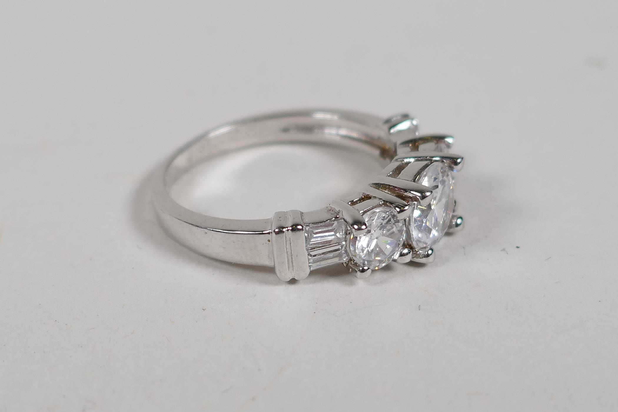 A 925 silver and cubic zirconia three stone dress ring, size N/O - Image 2 of 3