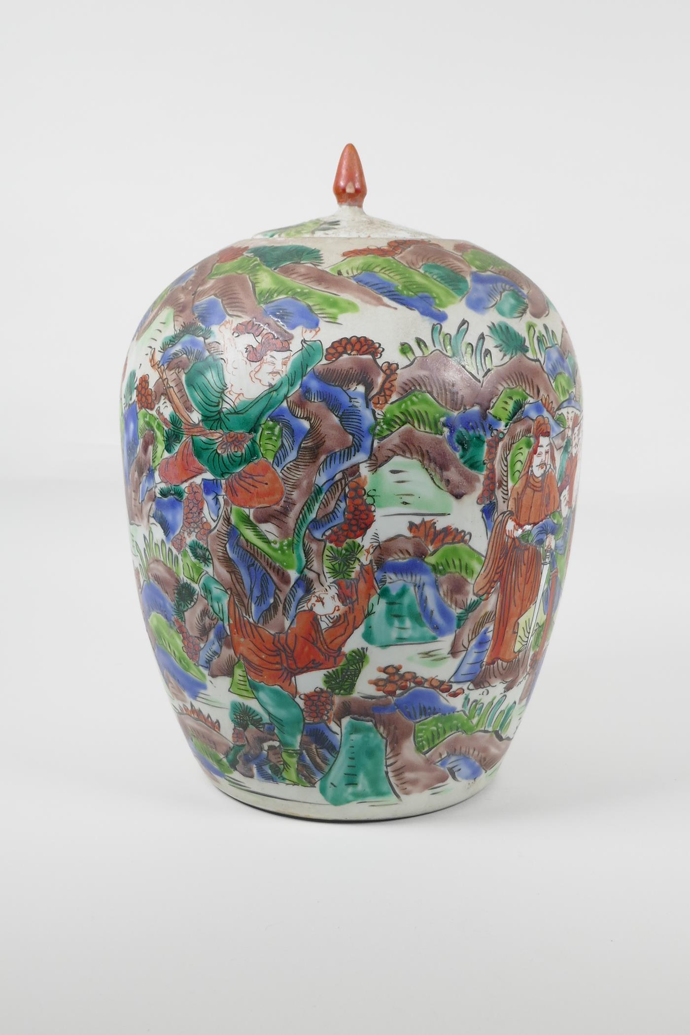 """A Chinese famille vert porcelain ginger jar and cover, decorated with a tiger hunting scene. 12"""" - Image 3 of 6"""