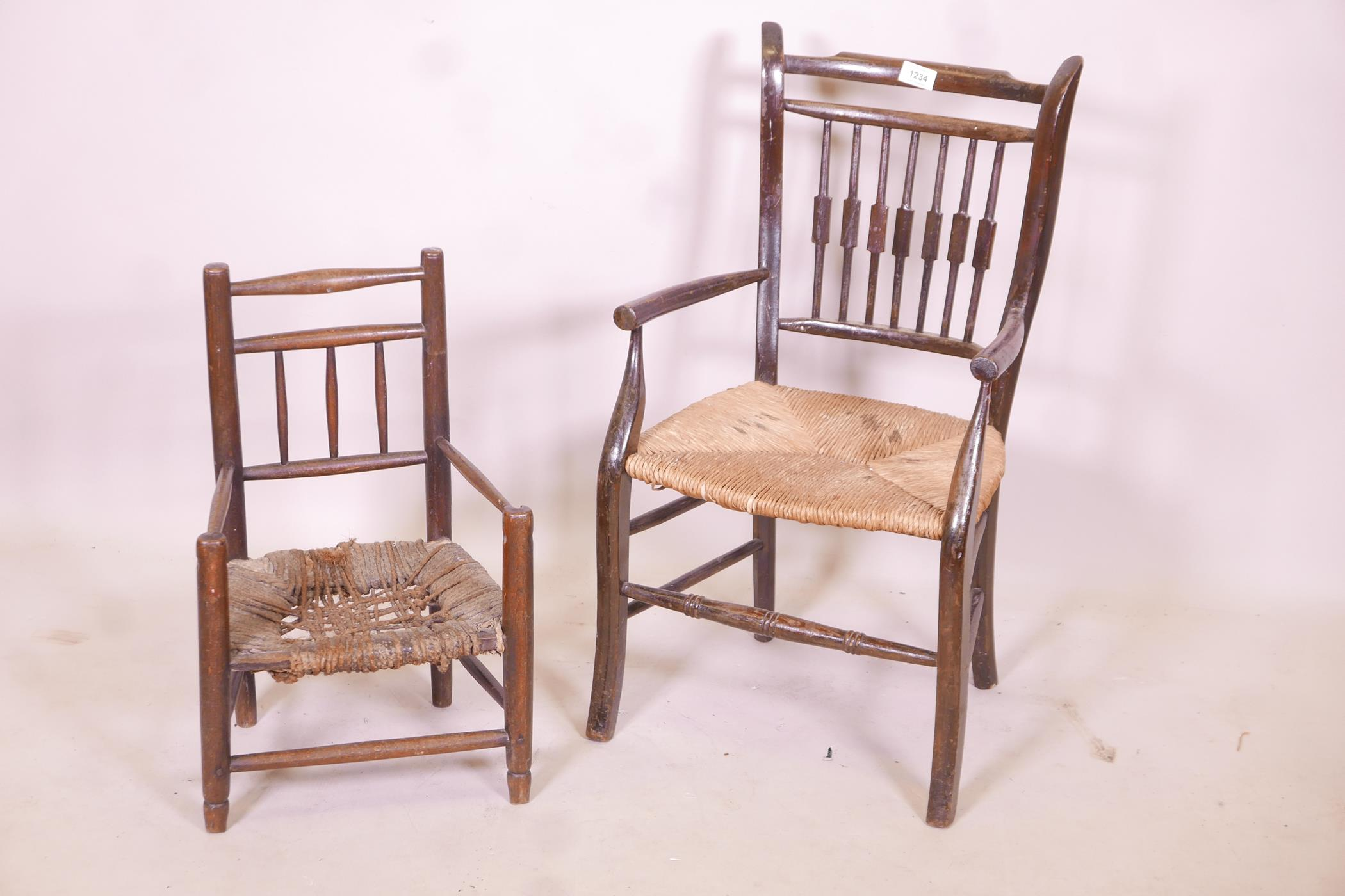 A child's William Morris style rush seated elbow chair, and another smaller