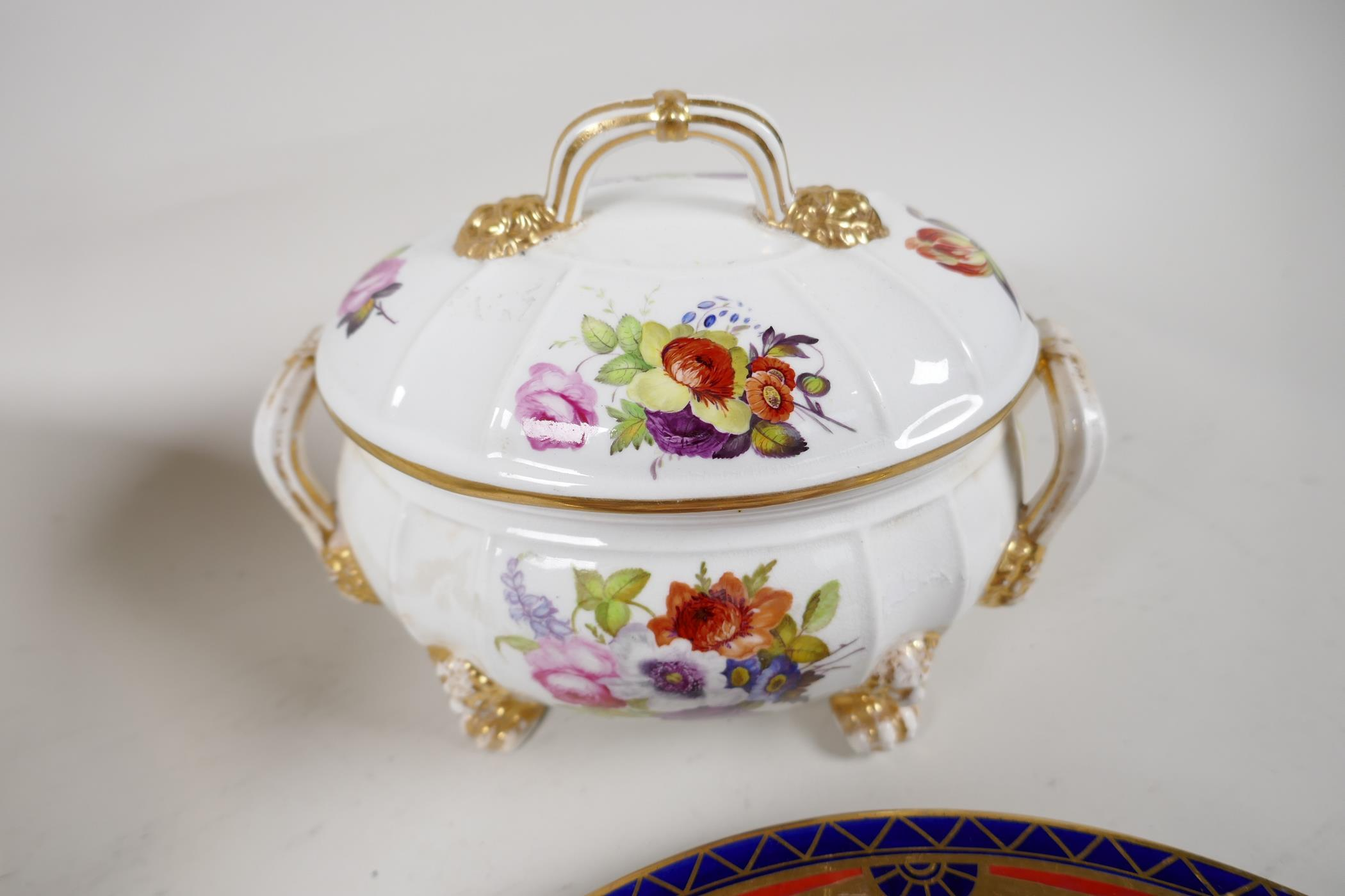 """A Crown Derby sauce tureen and cover, with hand painted flowers and gilt highlights, 6½"""" wide, and - Image 6 of 7"""
