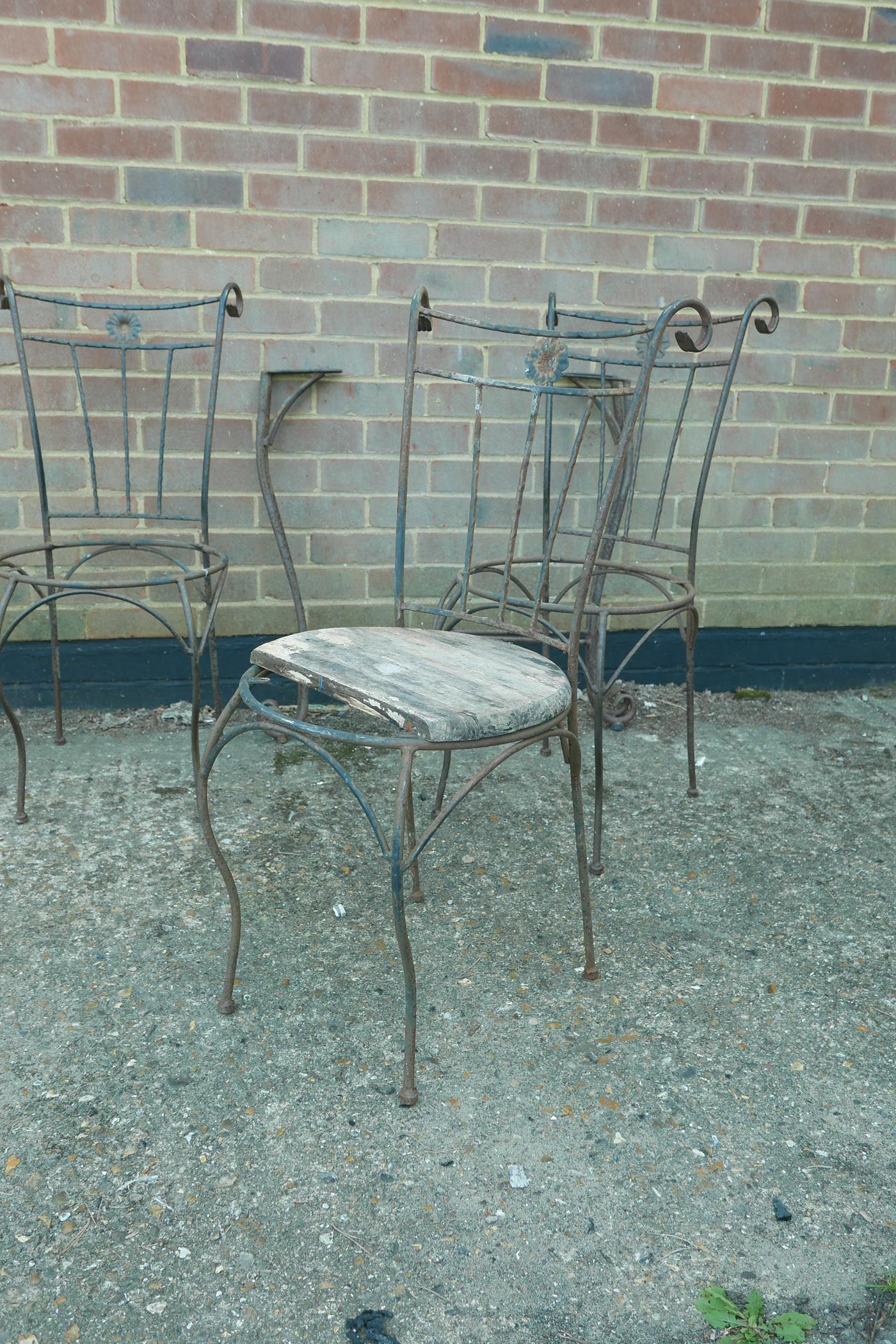 A set of six wrought iron garden chairs and matching table base, A/F, lack seats - Image 2 of 4