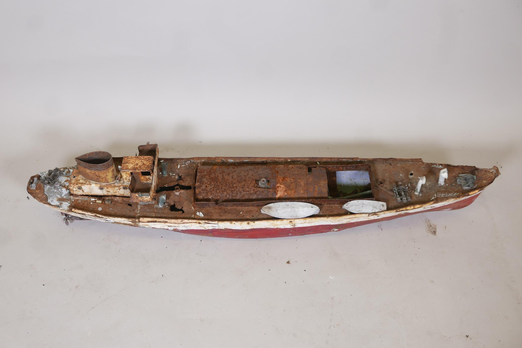 """A late C19th/early C20th scratch built painted iron steam boat, A/F, 44"""" long - Image 2 of 6"""