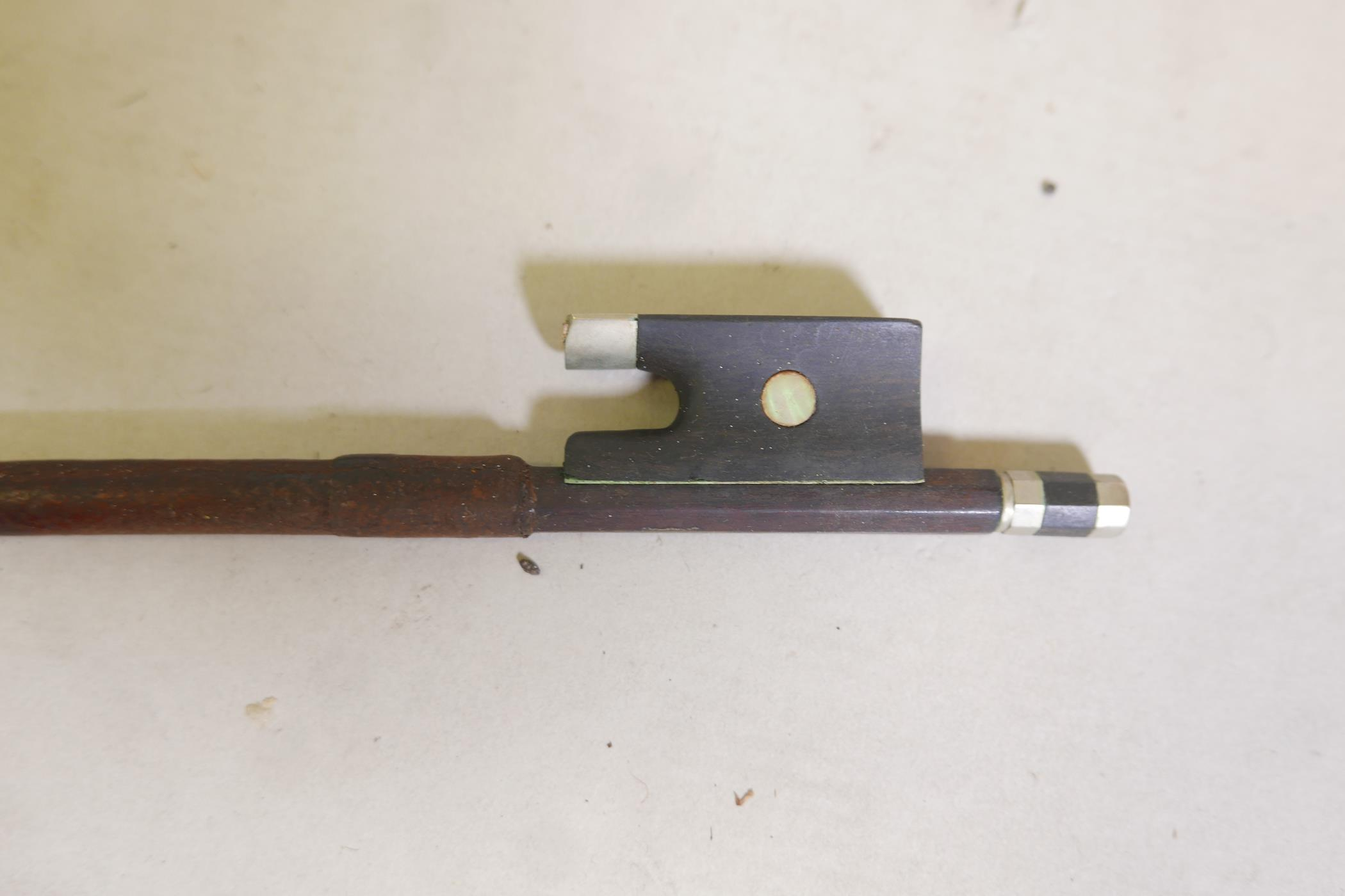 """A vintage violin and bow in case, 14½"""" back including button, 23½"""" long - Image 12 of 15"""