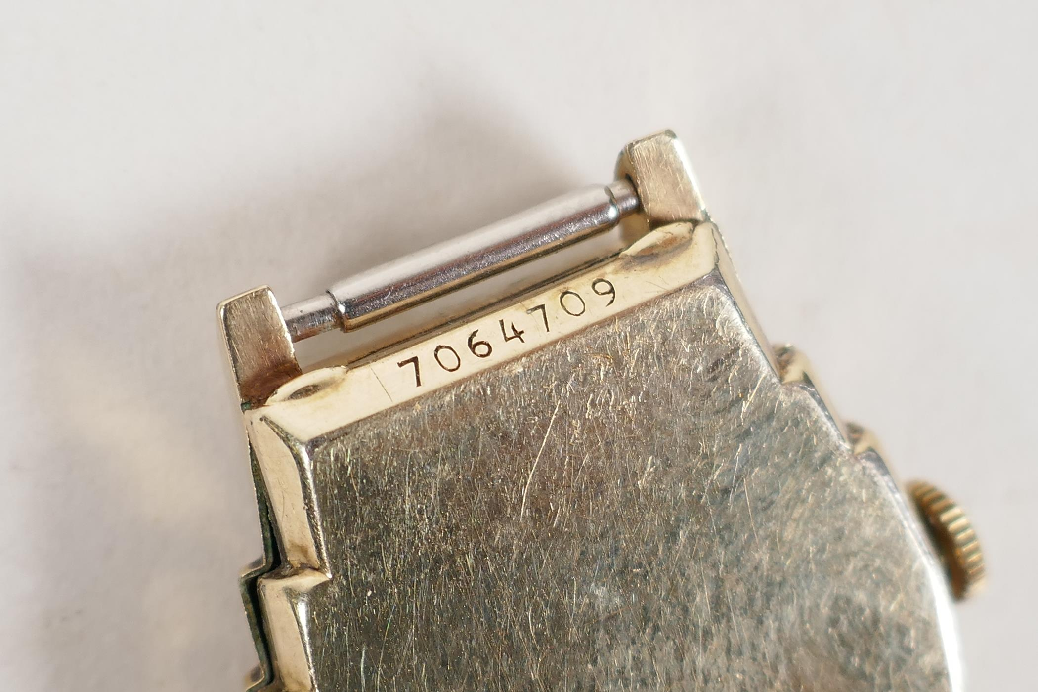 A vintage gilt plated Bulova wrist watch with a small subsidiary second hand dial, lacks strap, A/F, - Image 3 of 3