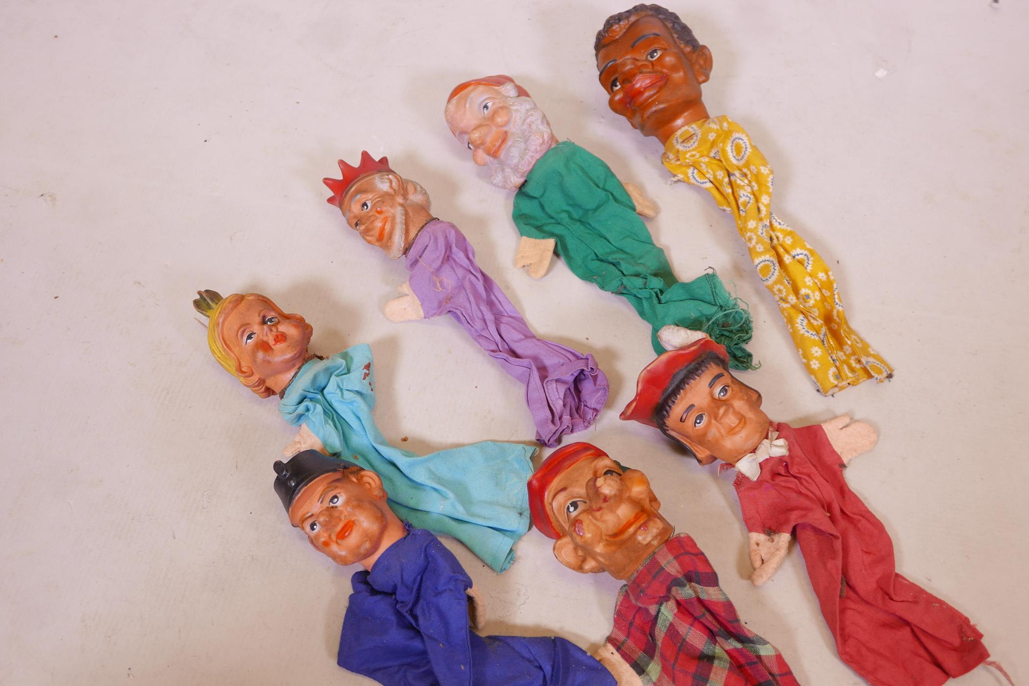 Seven vintage glove puppets