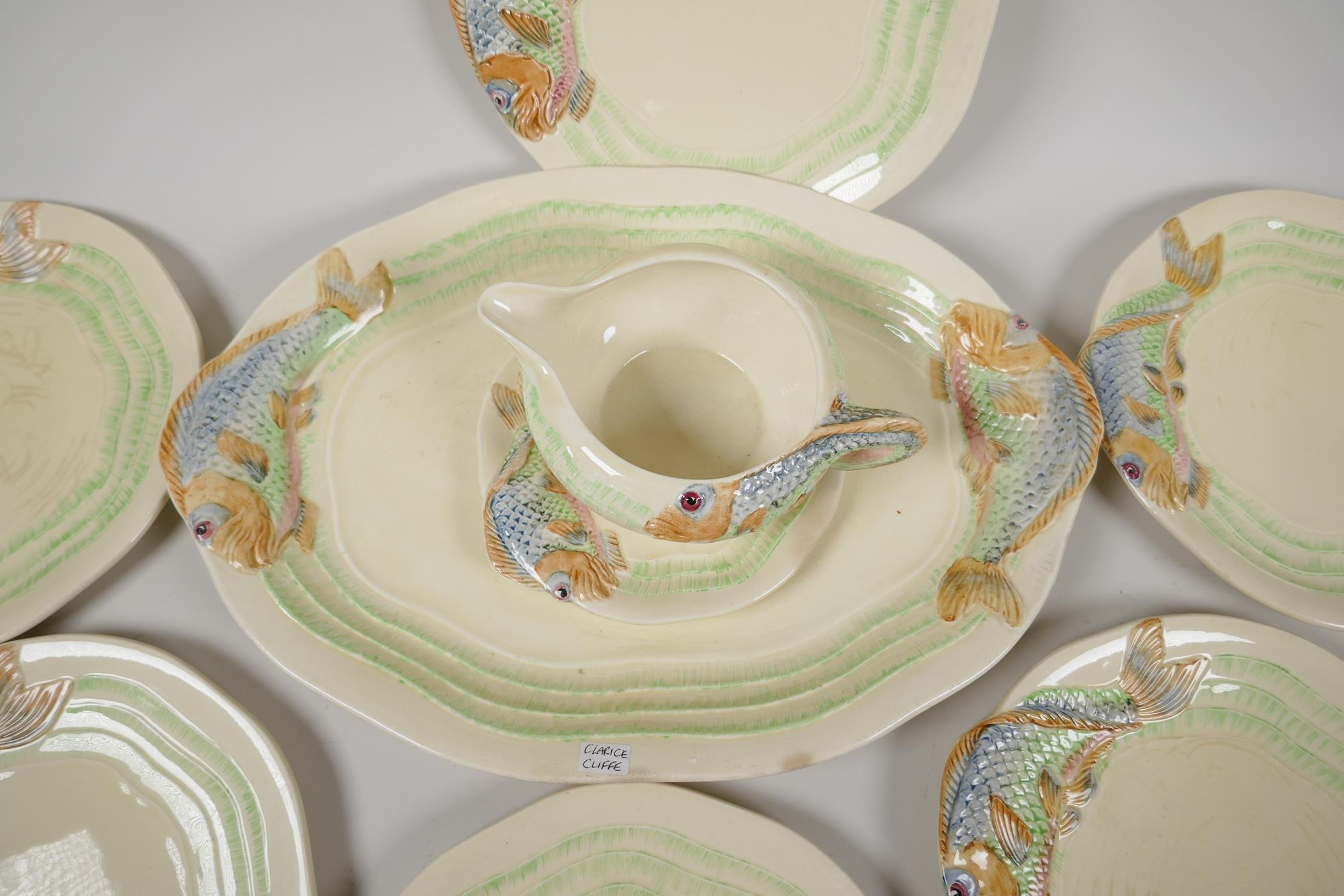 """Clarice Cliff for Wilkinson, a nine piece fish service, serving plate 15"""" x 10"""", six 8½"""" plates, - Image 4 of 5"""