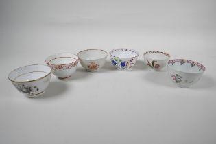 Six late C18th English porcelain tea bowls, various manufacturers