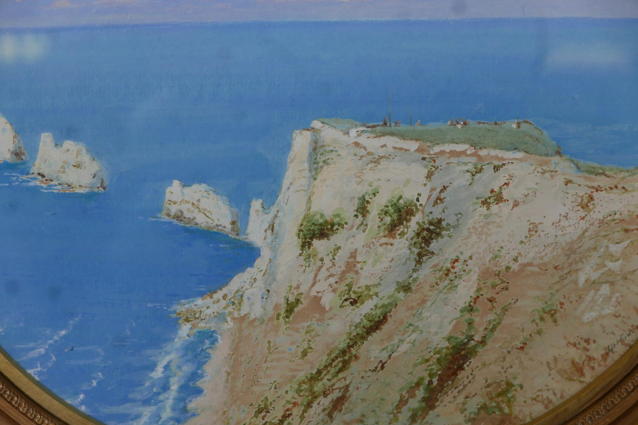 """A.H. Findley, coastal scene with the Needles, signed, watercolour and gouache, 11"""" x 8"""""""