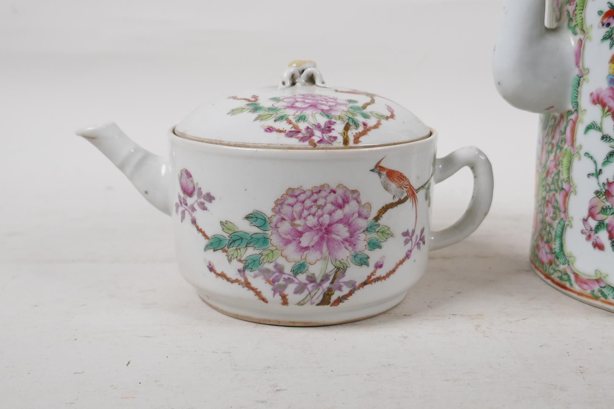 A Cantonese famille rose teapot decorated with figures, birds and flowers, A/F, and a republic - Image 2 of 7