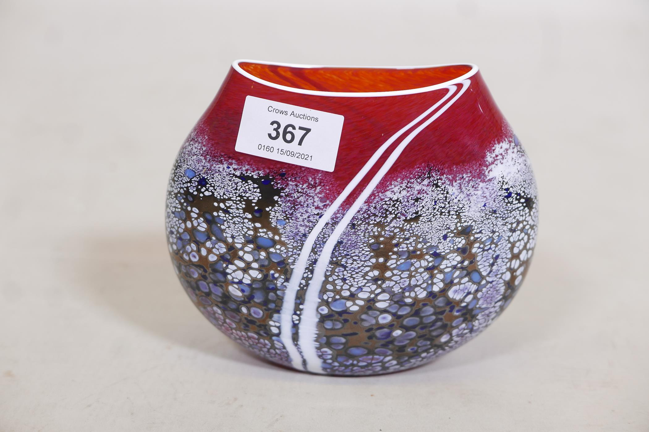 """A Martin Andrews 'Sunset' purse shaped glass vase, signed and dated 2014, 5"""" high - Image 2 of 4"""