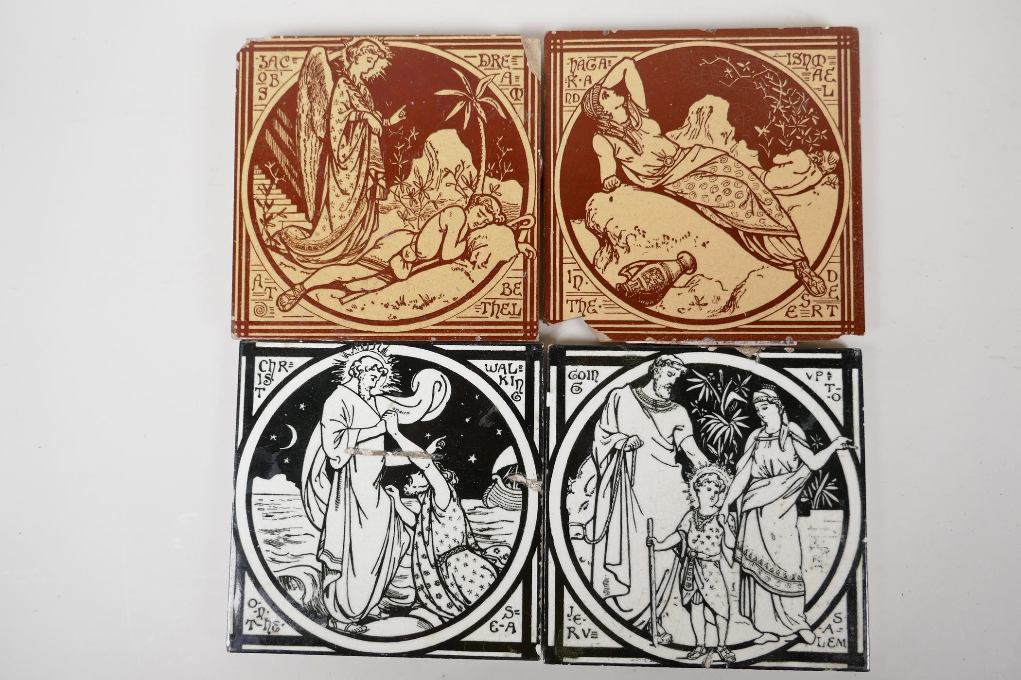 """A pair of Minton tiles, 'Jacobs Dreams', 6"""" square, along with two others, 'Going up to Jerusalem'"""