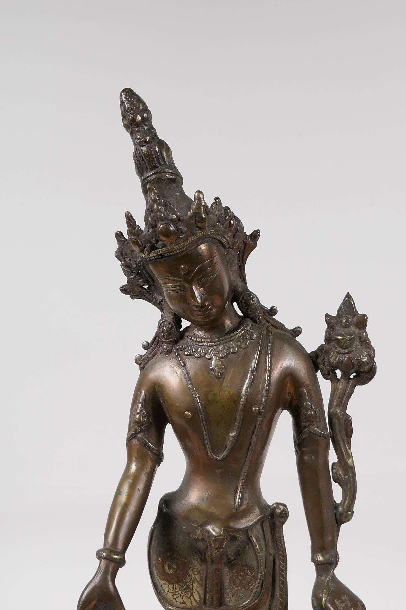 """An Indian bronze deity on a lotus throne, 17"""" high - Image 2 of 4"""