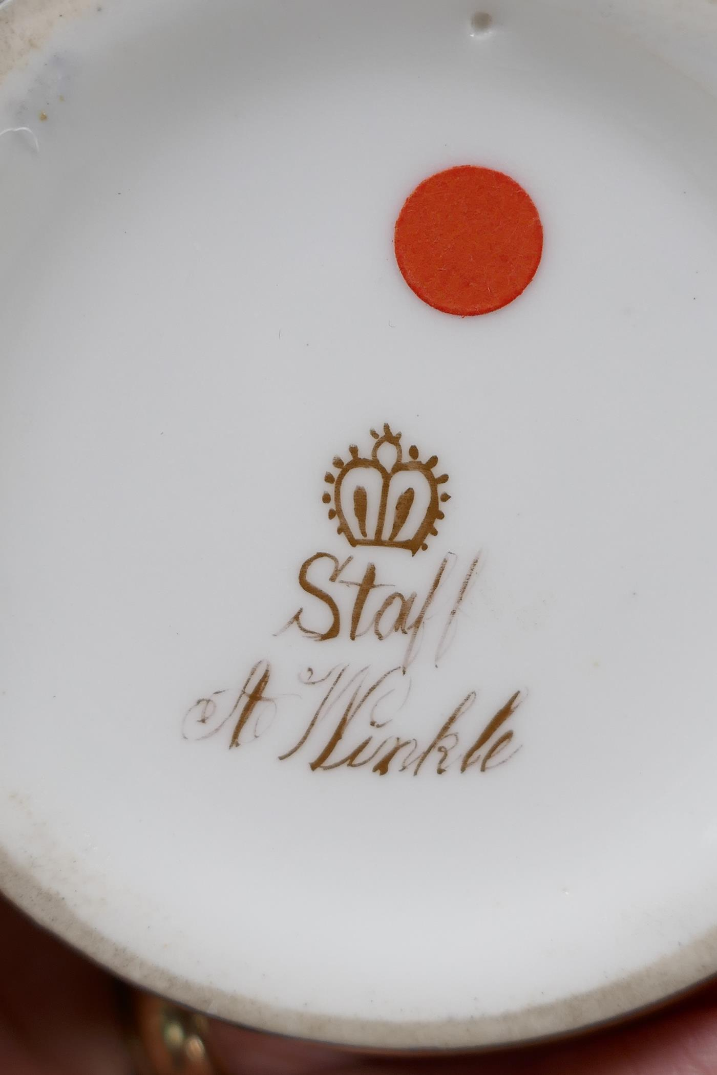 """A Royal Worcester vase with two handles and reticulated neck, 6"""" high, and a porcelain vase - Image 5 of 5"""