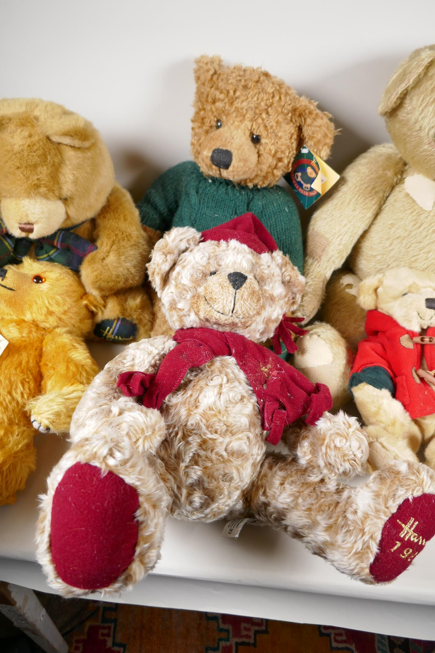 """A vintage 'House of Nisbet' teddy bear (patched) 22"""" long, four Harrods bears, 1994, 1998, 1999 - Image 3 of 4"""