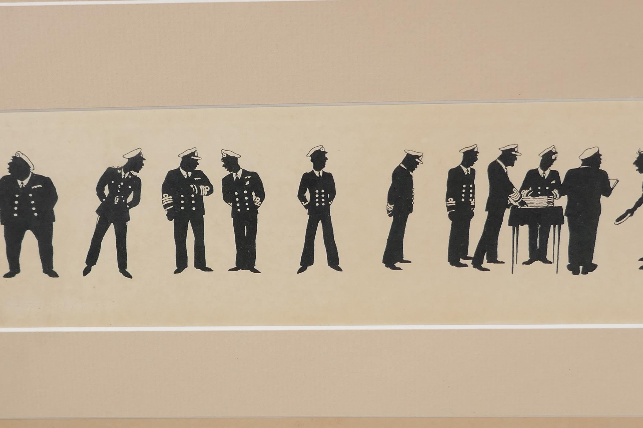 A.M. Hughes, three silhouette prints of naval life, Grog, Defaulters and Sunday Rounds, mounted in a - Image 5 of 9