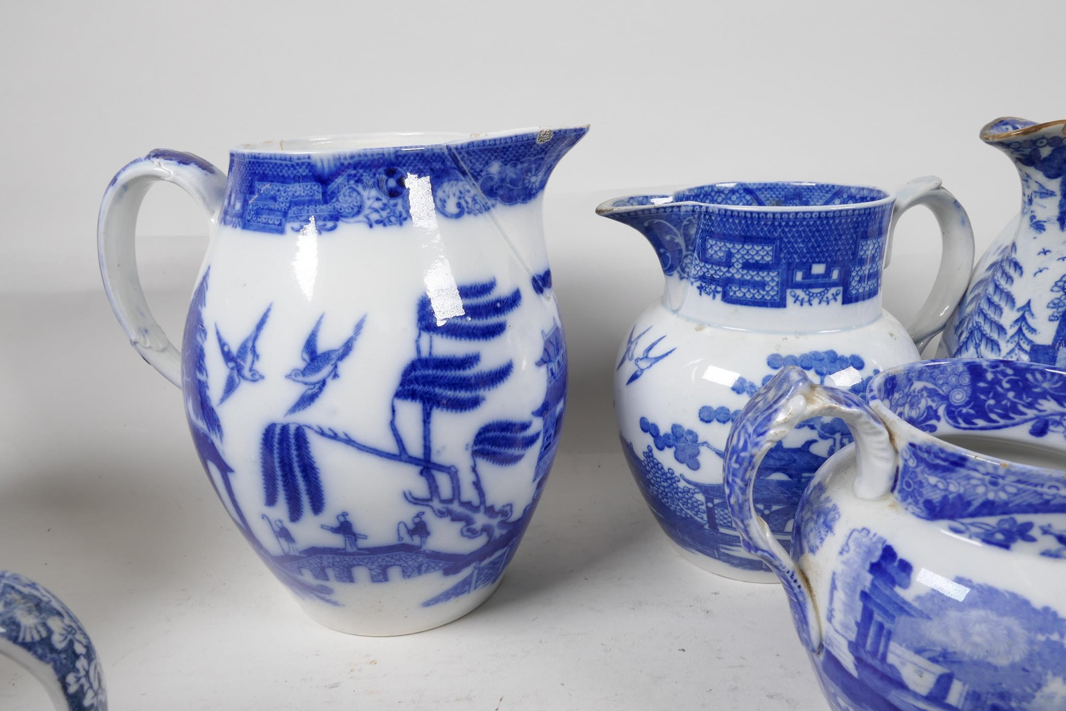 """Six blue and white transfer printed jugs and three gravy boats, various patterns, largest 6"""" high - Image 6 of 8"""