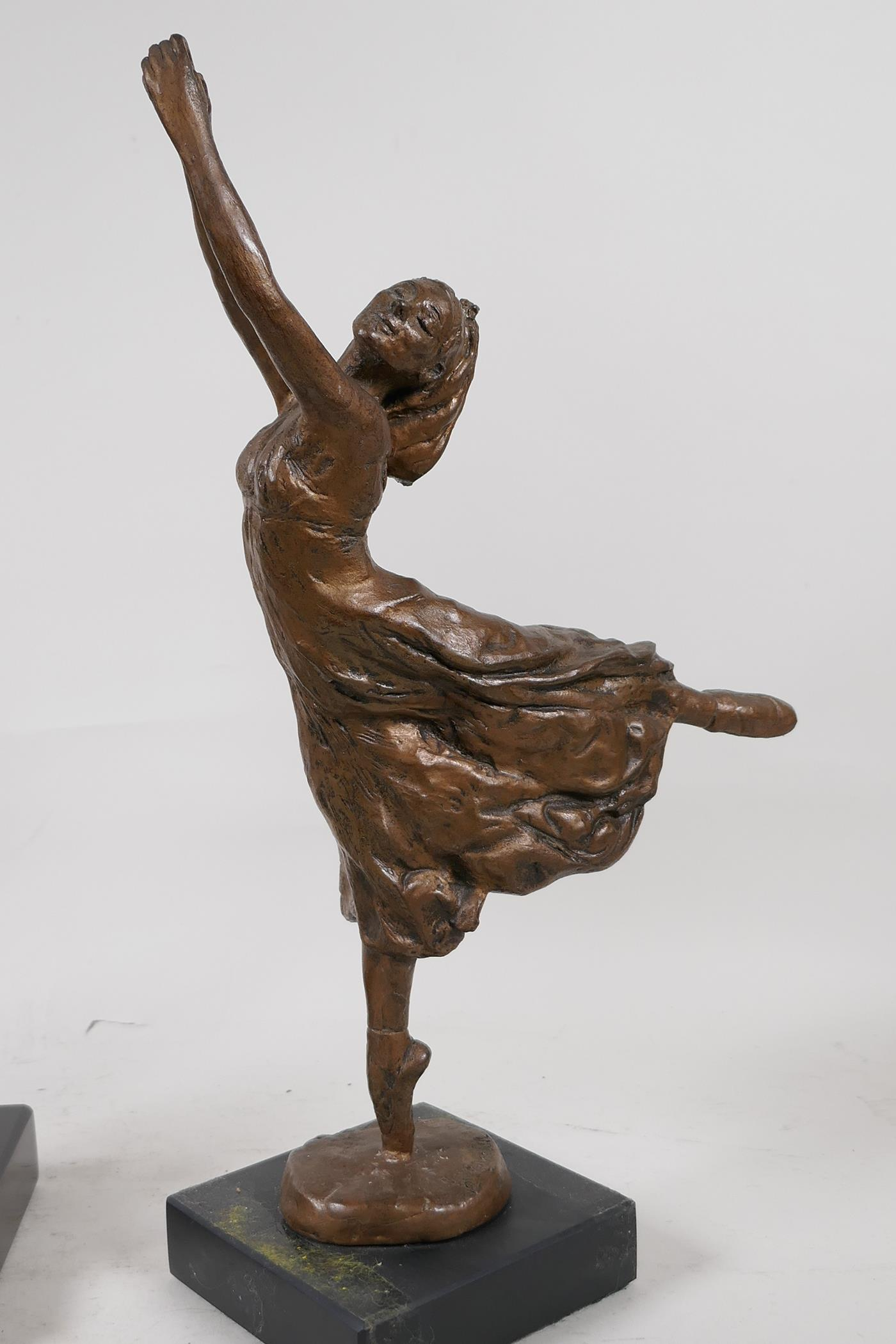 Nathan David, three limited edition bronzed composition figures of ballet dancers, Spirit of the - Image 5 of 9