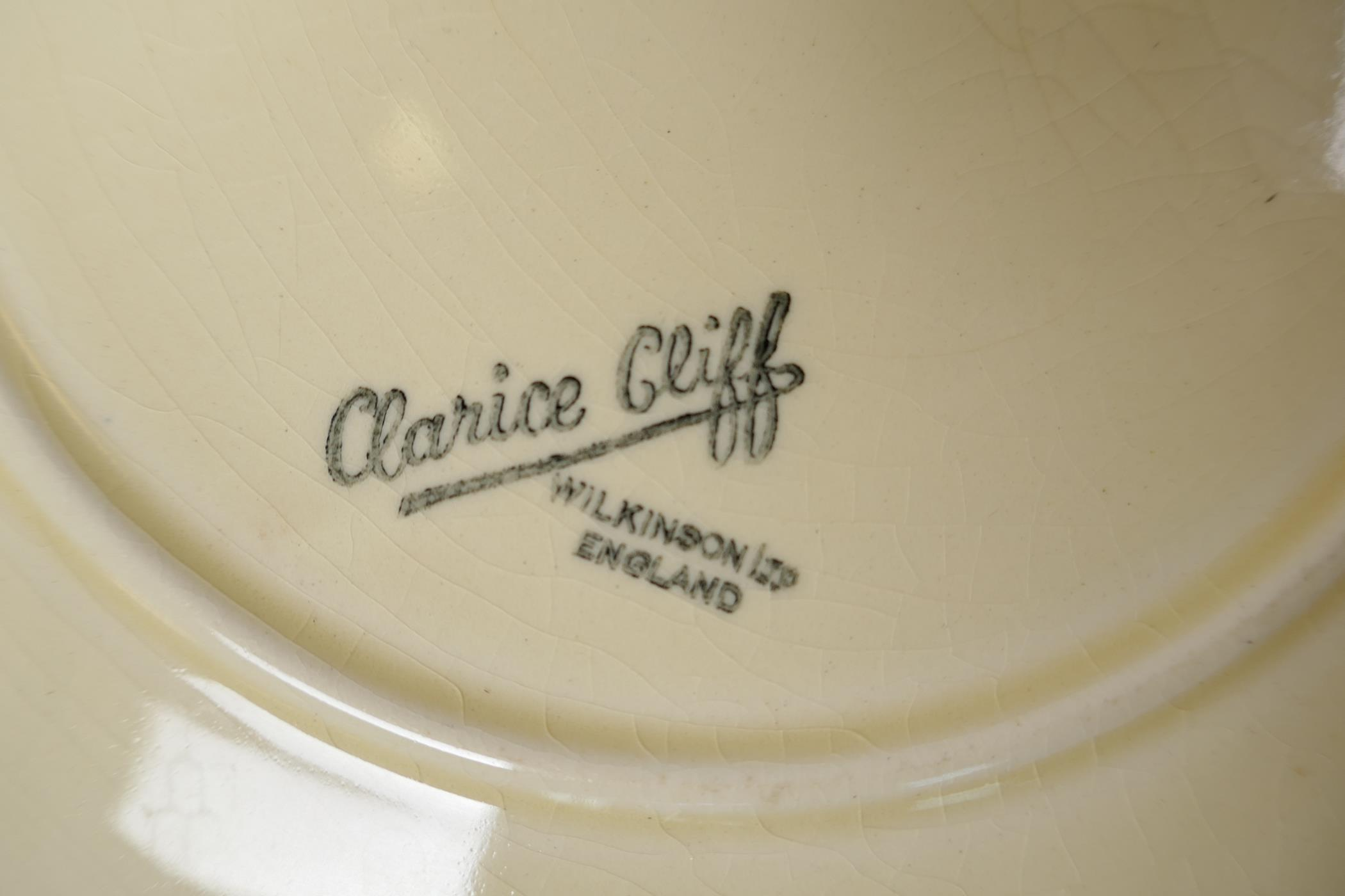 """Clarice Cliff for Wilkinson, a nine piece fish service, serving plate 15"""" x 10"""", six 8½"""" plates, - Image 5 of 5"""