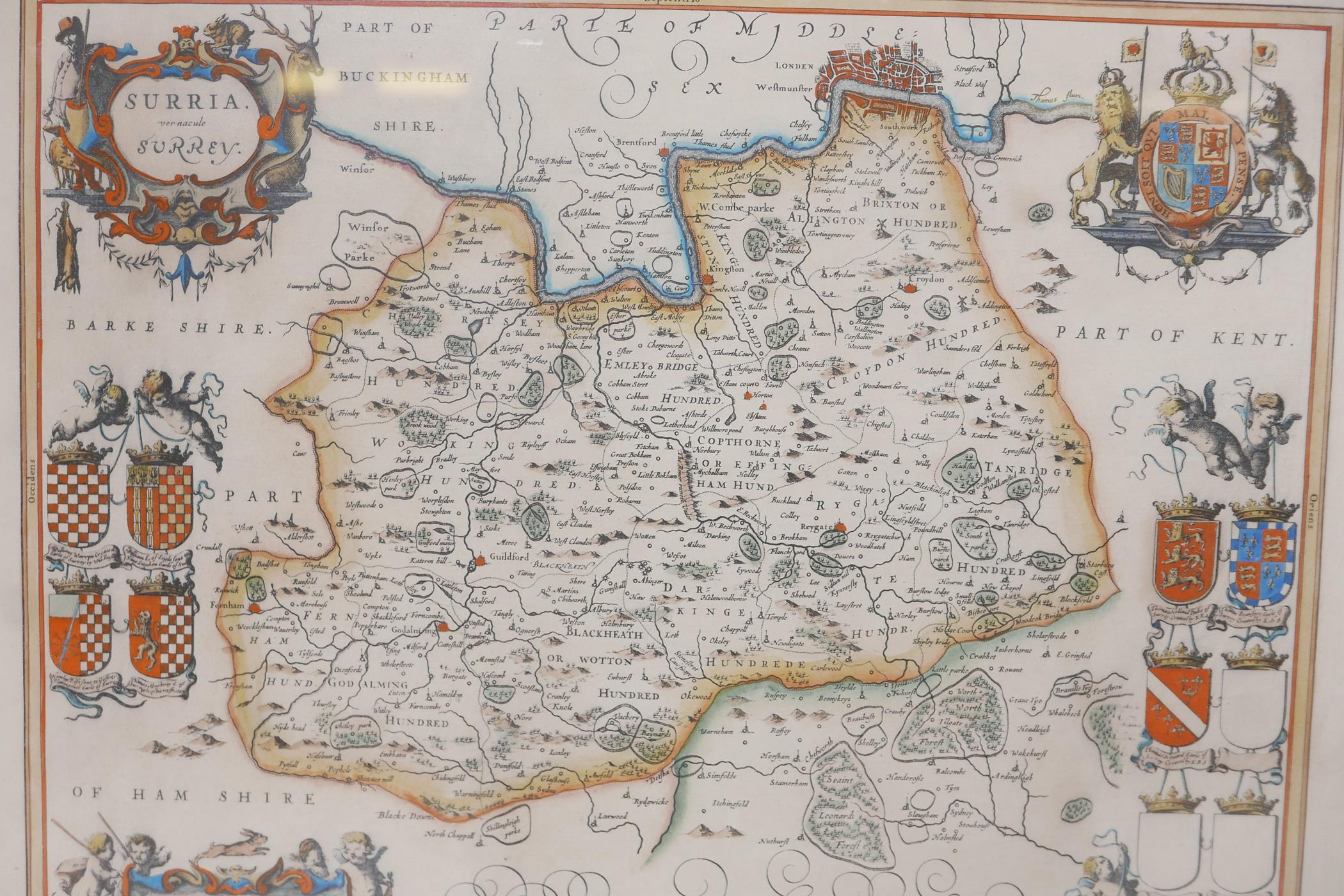 Map of Kent, Cantium vernacule Kent, and another of Surrey, Surria vernacule Surrey, both hand - Image 2 of 5