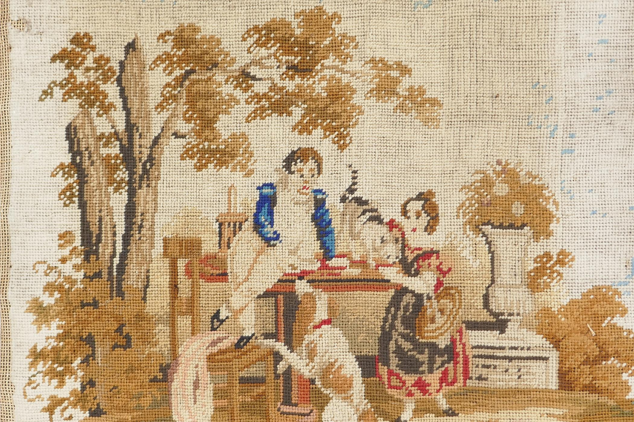 """A C19th woolwork, children at a table with dog and cat, 15"""" square - Image 2 of 3"""