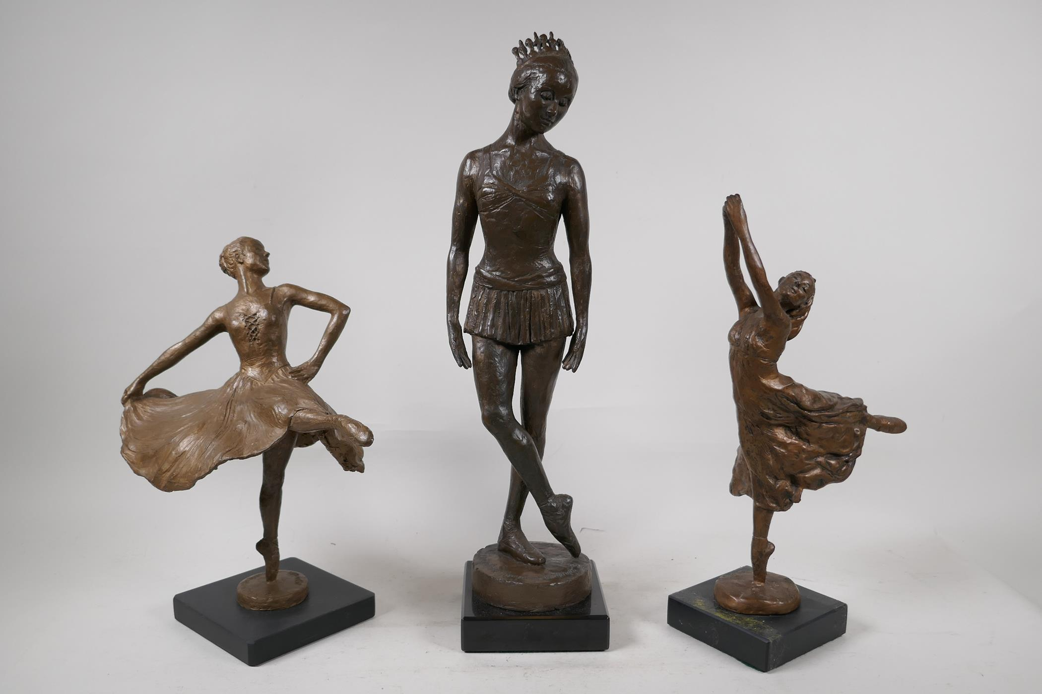 Nathan David, three limited edition bronzed composition figures of ballet dancers, Spirit of the