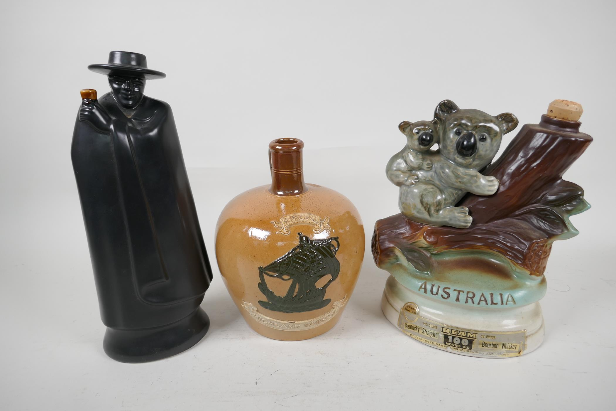 A Stoneware Highland Whisky flask, a Wedgwood 'Don' for Sandeman Sherry decanter and an Australian