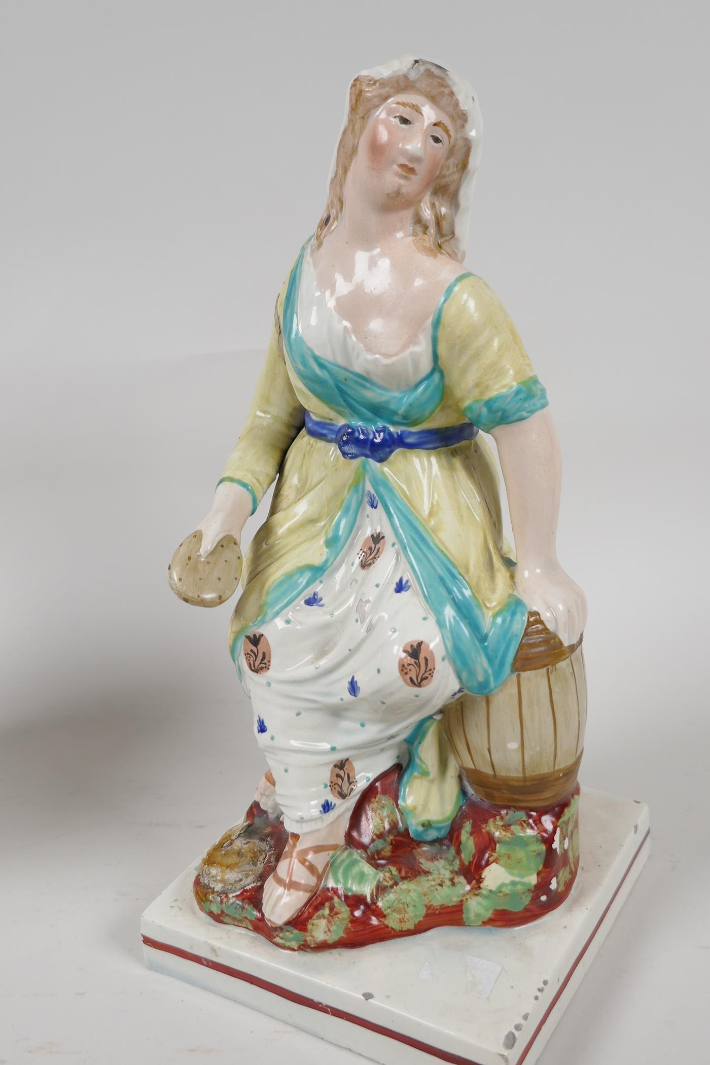 """A pair of C19th Staffordshire pottery figures, Elijah and the Widow, 9"""" high - Image 4 of 5"""
