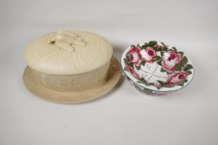 """A Wedgwood style stoneware game tureen and cover with raised and applied decoration, A/F, 12"""""""