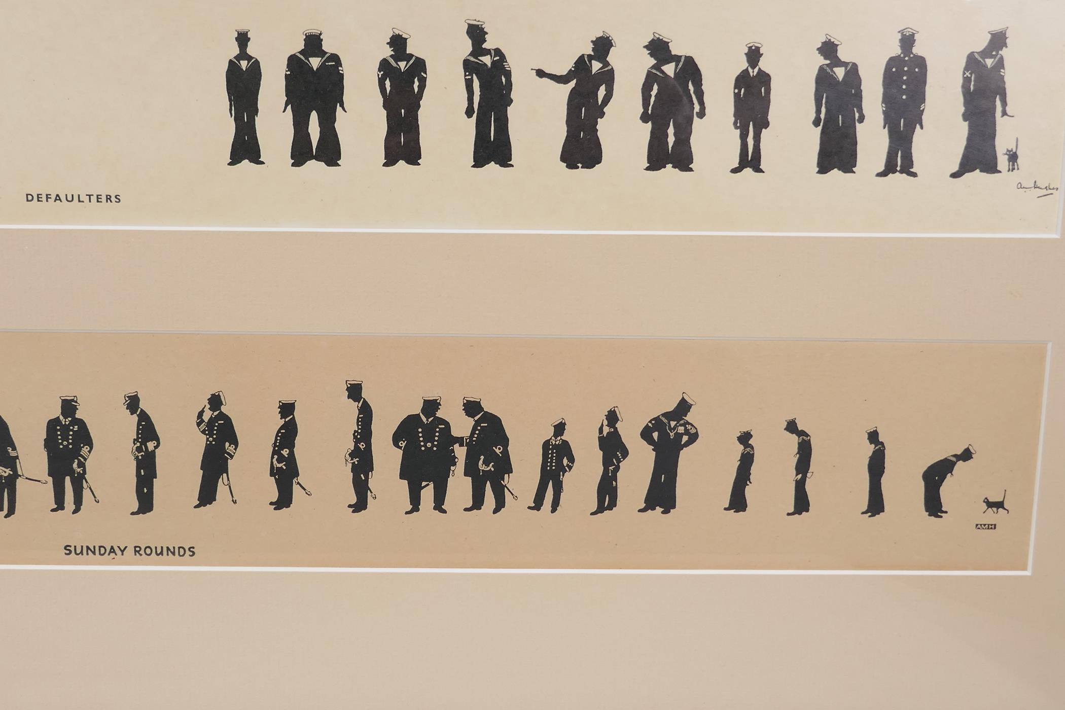 A.M. Hughes, three silhouette prints of naval life, Grog, Defaulters and Sunday Rounds, mounted in a - Image 8 of 9