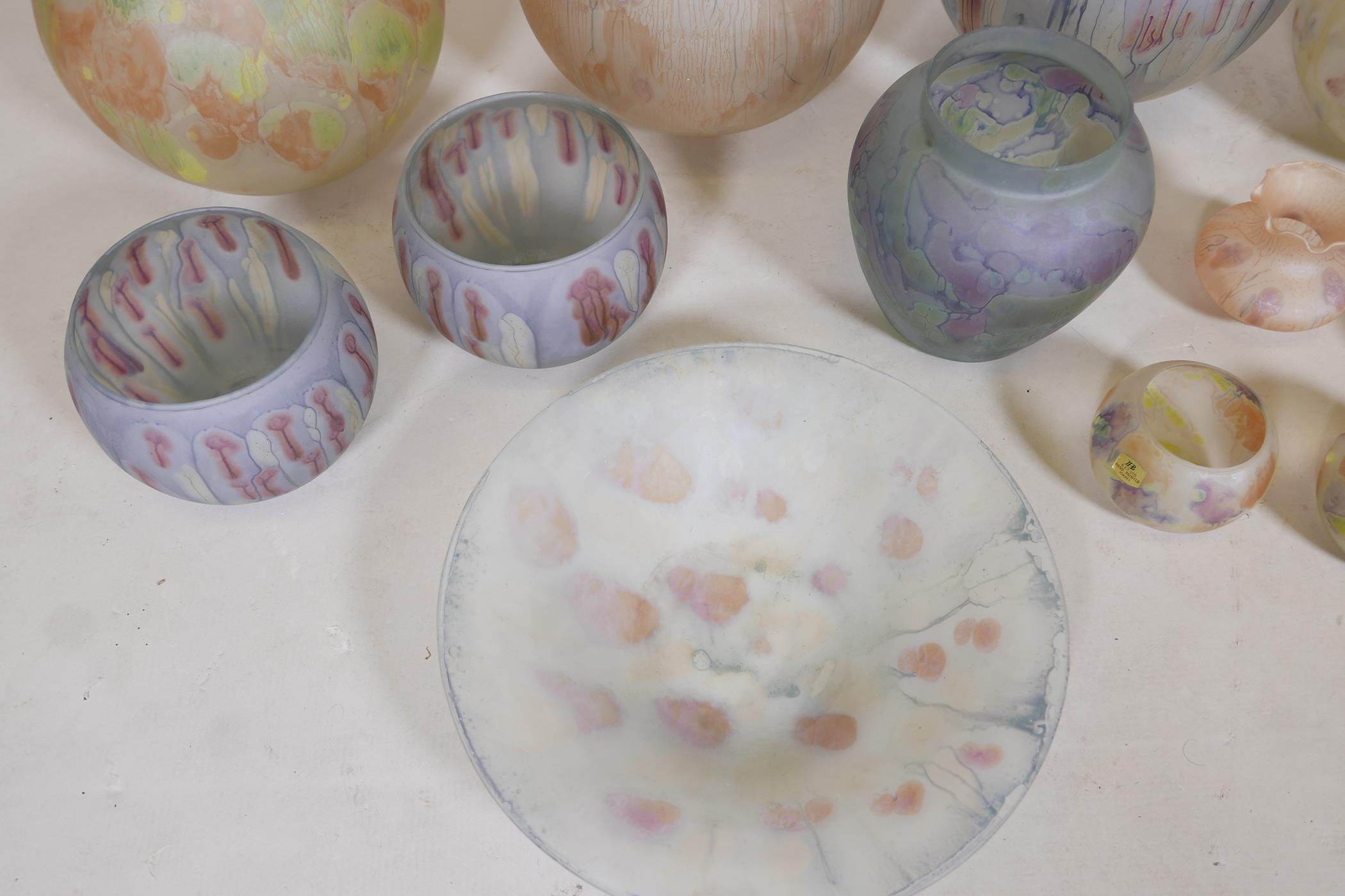 A quantity of Israeli hand painted studio glass to include lamp shades, vases, bowls and dishes, - Image 6 of 8