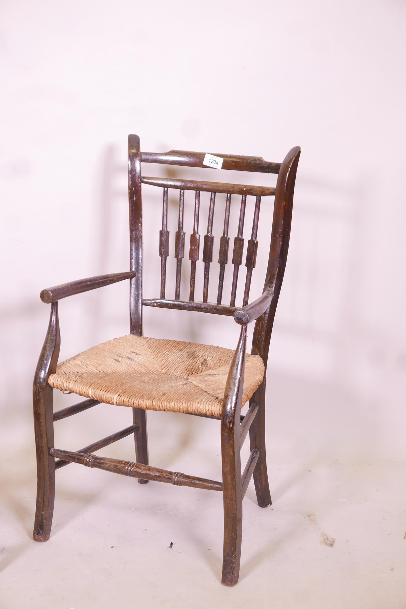 A child's William Morris style rush seated elbow chair, and another smaller - Image 2 of 3
