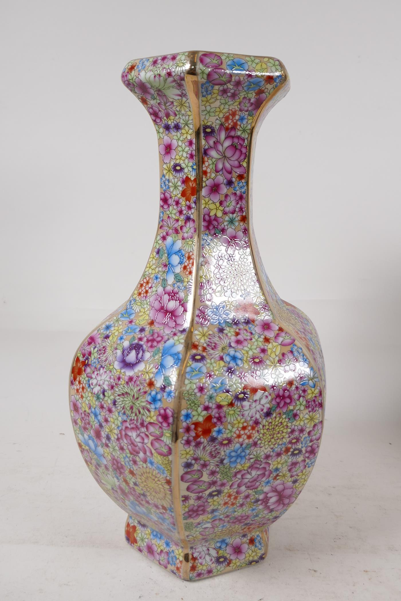 """A Chinese porcelain hexagonal vase decorated in the mille fleur pattern, seal mark to base, 13"""" high"""